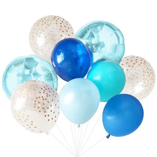 Balloon Bundle Bouquet- Blue (helium inflated)