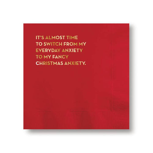 #591: Anxiety Napkins (Red with Gold Foil)