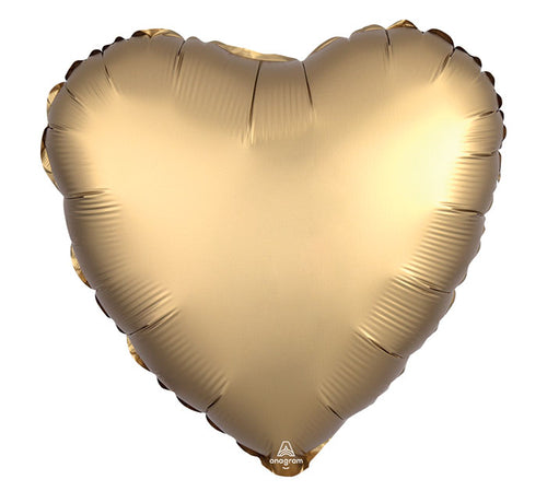 "17"" Solid Satin Luxe Sateen Heart- Gold"