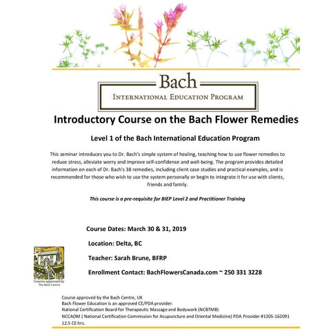 Introduction to the Bach Flower Remedies - Level One ~ March, 2019