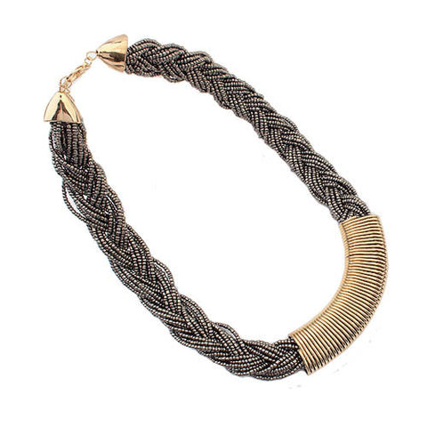 Statement Braided Bead Necklace - Bronze