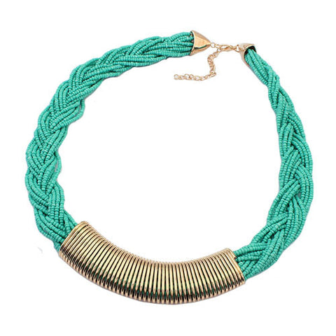 Statement Braided Bead Necklace - Teal