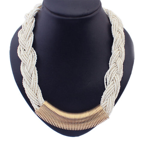 Statement Braided Bead Necklace - White