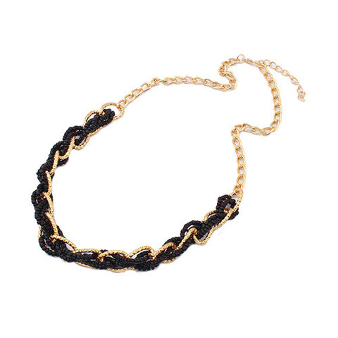Statement Interlacing Beaded Necklace - Black