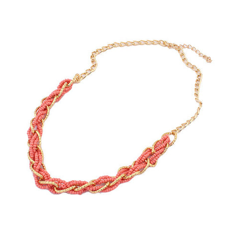 Statement Interlacing Beaded Necklace - Coral
