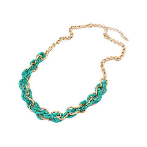 Statement Interlacing Beaded Necklace - Teal