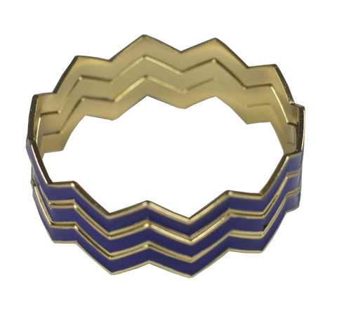 Statement Chevron Bracelet - Navy