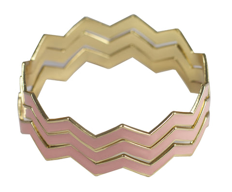 Statement Chevron Bracelet - Pink