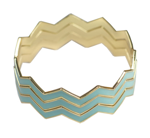 Statement Chevron Bracelet - Teal
