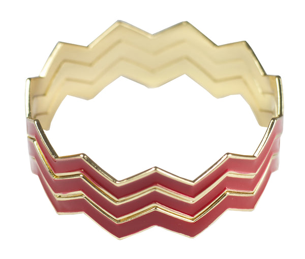 Statement Chevron Bracelet - Red