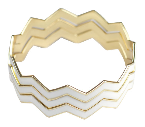 Statement Chevron Bracelet - White