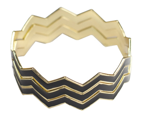 Statement Chevron Bracelet - Black
