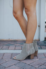 Tom's Stucco Suede Perforated Majorca Peep Toe Botties