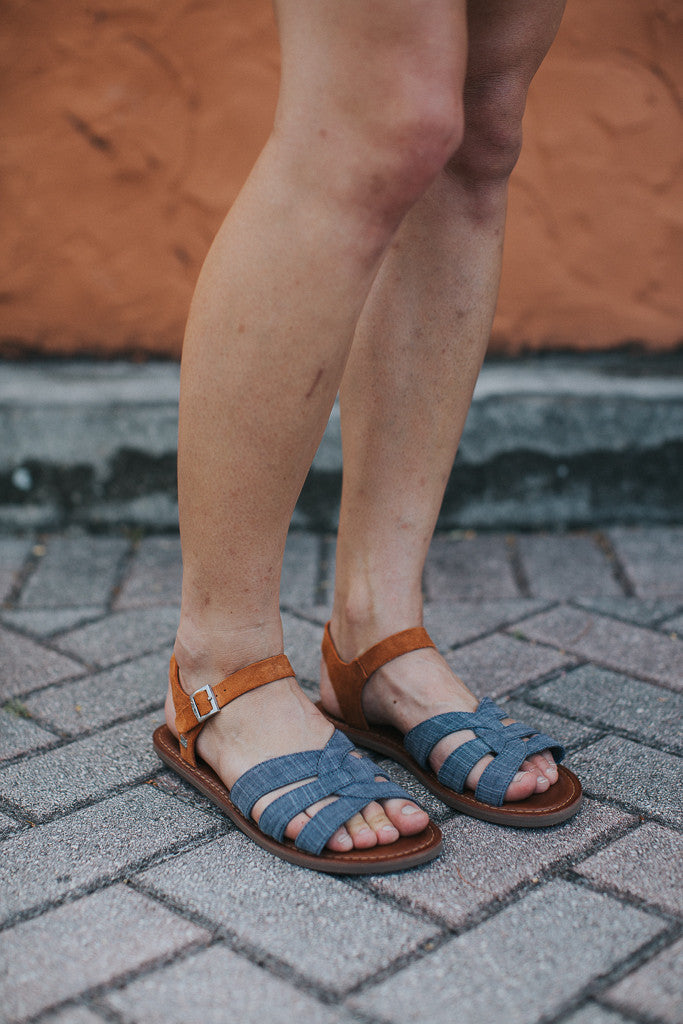 6f150f624c5 Tom s Chambray Brown and Suede Zoe Sandals – Nomad Boutique