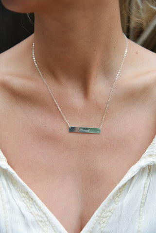 Lat & Lo Nomad Shop Silve Bar Necklaces