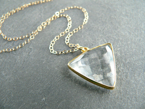 Kattilac Gems Crystal Triangle Necklace