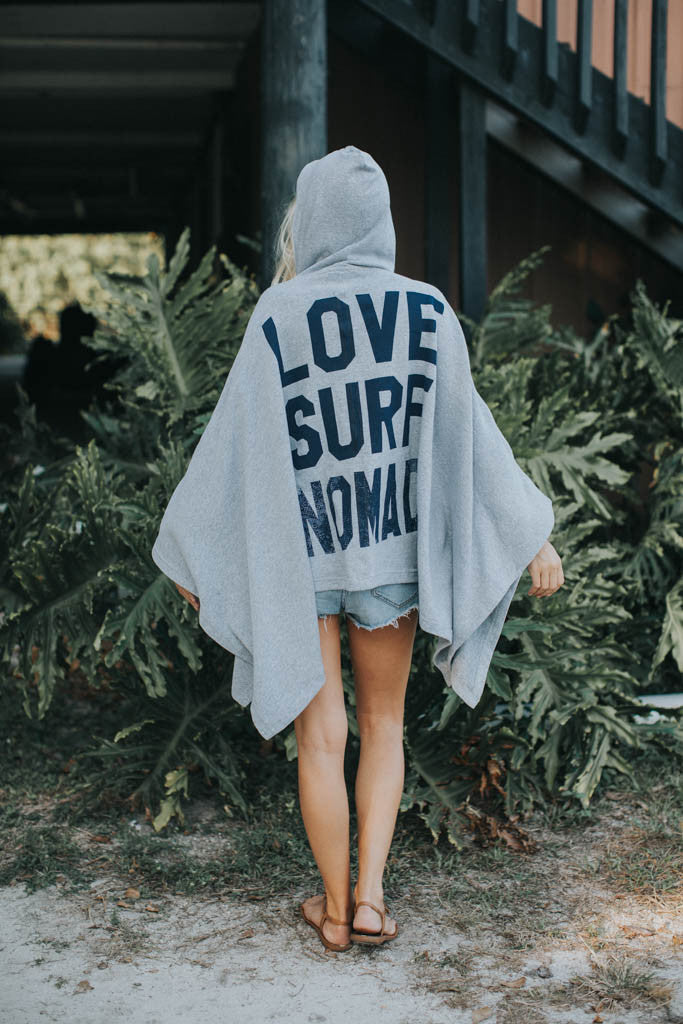 Nomad Surf Boutique Custom Made LOVE,SURF, NOMAD Poncho