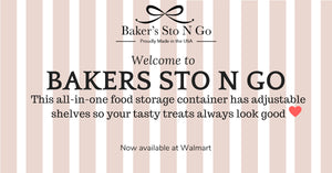 This made in America Bakers Sto N Go is a food storage container that will let you layer your tasty treats, also known as the new cookie jar for your decorated sugar cookies