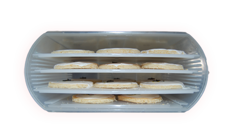 View of cookies on layered trays in Bakers Sto N Go