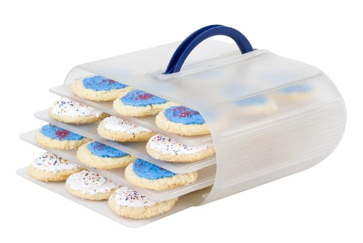 Bakers Sto N Go cookie containers are great for iced cookies, frosted cookies, bundt cakes, and brownies.  Change the trays to the deviled egg trays and the food storage container becomes a deviled egg container.
