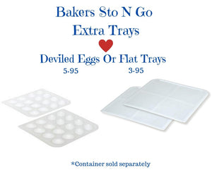 Bakers Sto N Go cookie containers are also great for deviled eggs. Simply remove the trays that hold the frosted cookies, and iced cookies, and insert the deviled egg trays. This food storage container now becomes a deviled egg container. Made in USA. Women Owned.