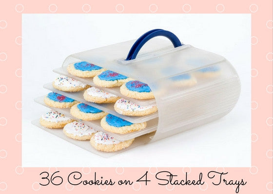 With the 4 tray option, you can store up to 40 cookies.  This is 36 cookies, 9 per tray.  This is great for holiday cutout cookies.  The absolute perfect container for cookies with icing.