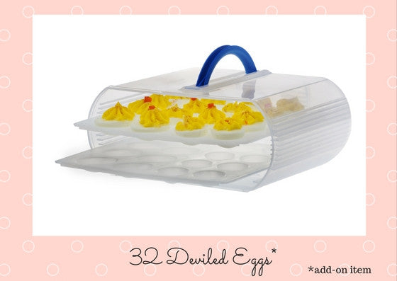32 deviled eggs can be stored.  Remove the straight trays and insert the deviled egg trays.  It's as simple as that.