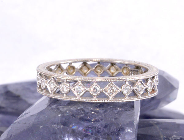 Vintage Diamond White Gold Eternity Wedding Band Olympic Gold and Jewelry