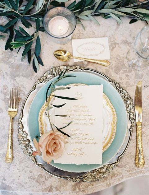Table Setting Vintage Weddings Olympic Gold and Jewelry