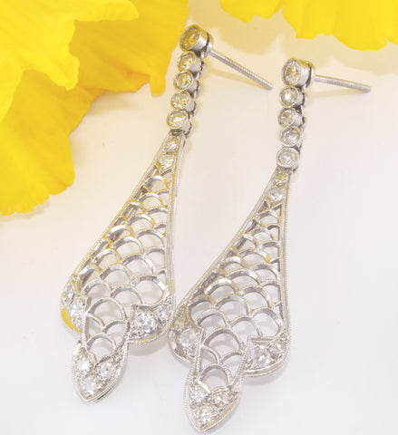 Vintage Diamond Drop Bridal Earrings Wedding Olympic Gold and Jewelry