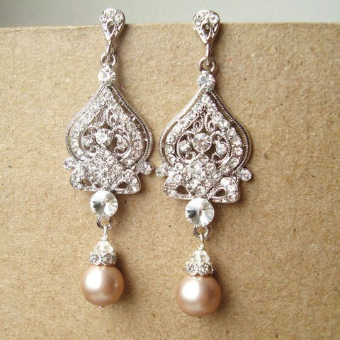 Vintage Pearl Bridal Earrings Wedding Olympic Gold and Jewelry