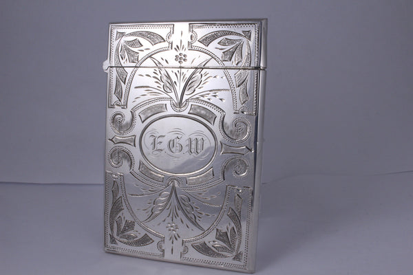 Edwardian Sterling Silver Card Holder London Circa 1900