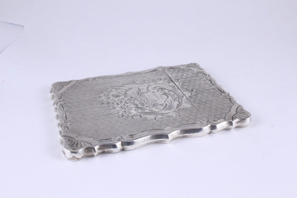 Antique Coin Silver Card Case Hand Chased Engraved H.L. Webster 1850's