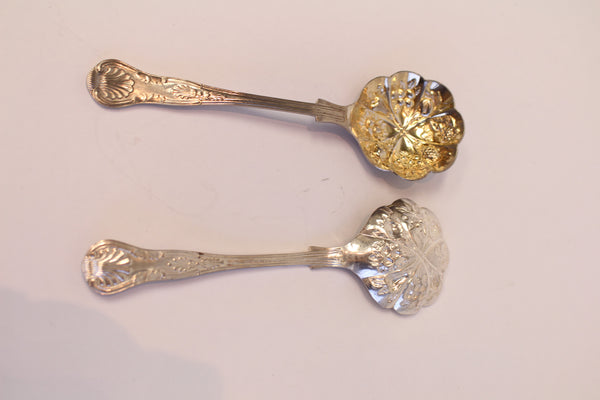 Sheffield Bonbon Spoons with Embossed Fruit Pattern (Pair)