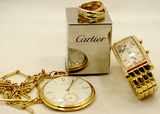 Cartier Gold & Diamond Tank Americaine Dual Time Zone Watch