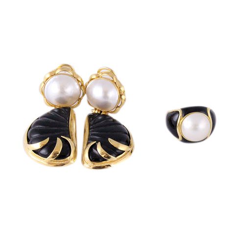 The Black Sea Earrings & Ring