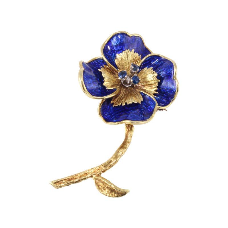 81fa7e94751 Tiffany and Co. Gold and Sapphire Pansy Flower Pin Brooch | OGJ