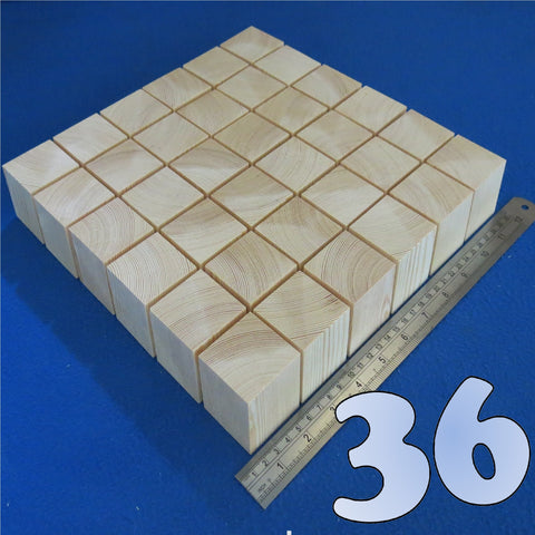 "36  x Cubes 1.7"" inch ~ 45 mm - Pine Wooden Craft Blocks"
