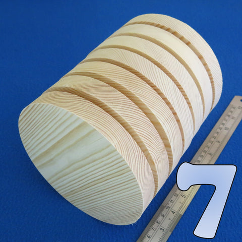 "7 x Circle 6.0"" inch ~ 150 mm - Pine Wooden Blocks / Plaques / Discs"