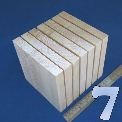 "7 x Square 6.0"" inch ~ 150 mm - Pine Wooden Blocks / Plaques"