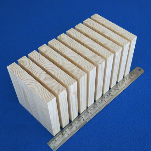 "10 x Square 5.0"" inch ~ 130 mm - Pine Wooden Blocks / Plaques"