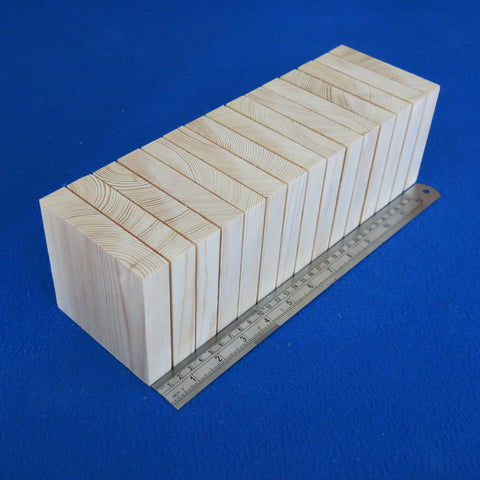 "15 x Square 4.0"" inch ~ 100 mm - Pine Wooden Blocks / Plaques"
