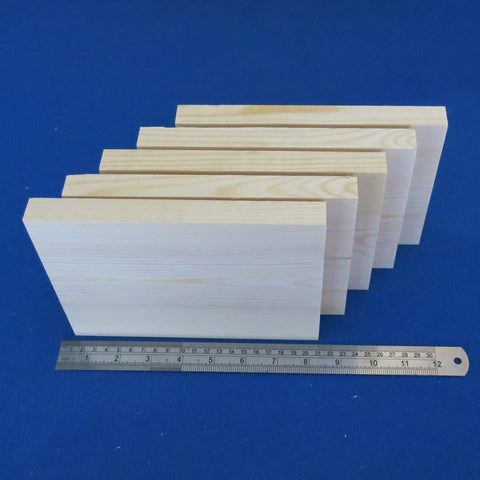 "5 x Plaques 6"" x 8"" inch ~ 150 mm x 200 mm - Pine Wooden Blocks"