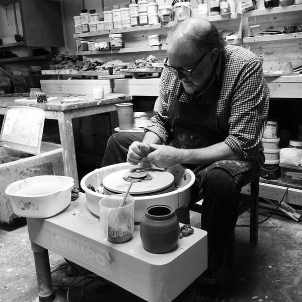 Tony Joslin throwing on the potter's wheel