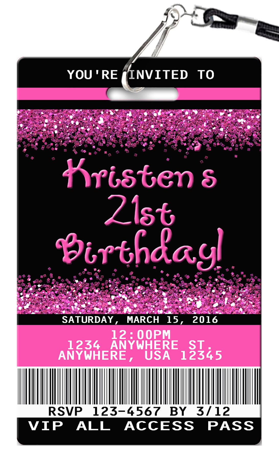 21st Birthday Invitation - PVC Invites - VIP Birthday Invitations