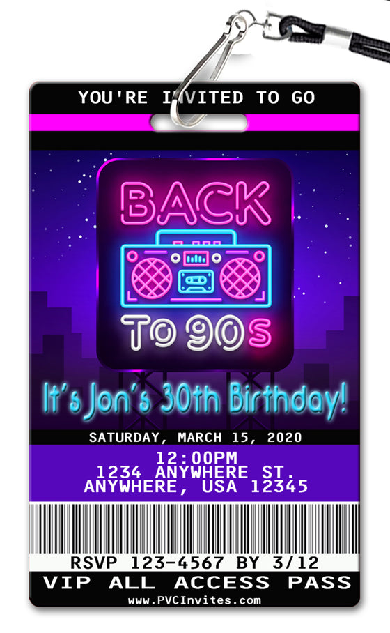 90's Birthday Invitation