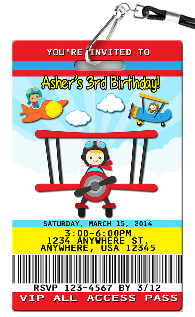 Airplane Birthday Invitation