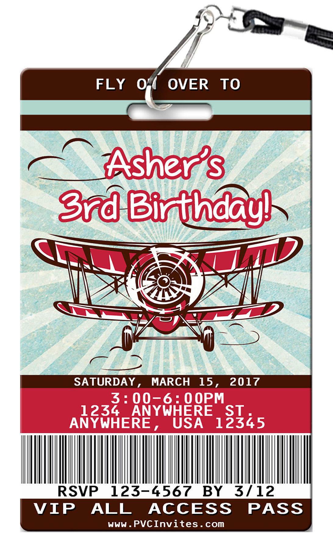 Airplane Birthday Invitation - PVC Invites - VIP Birthday Invitations