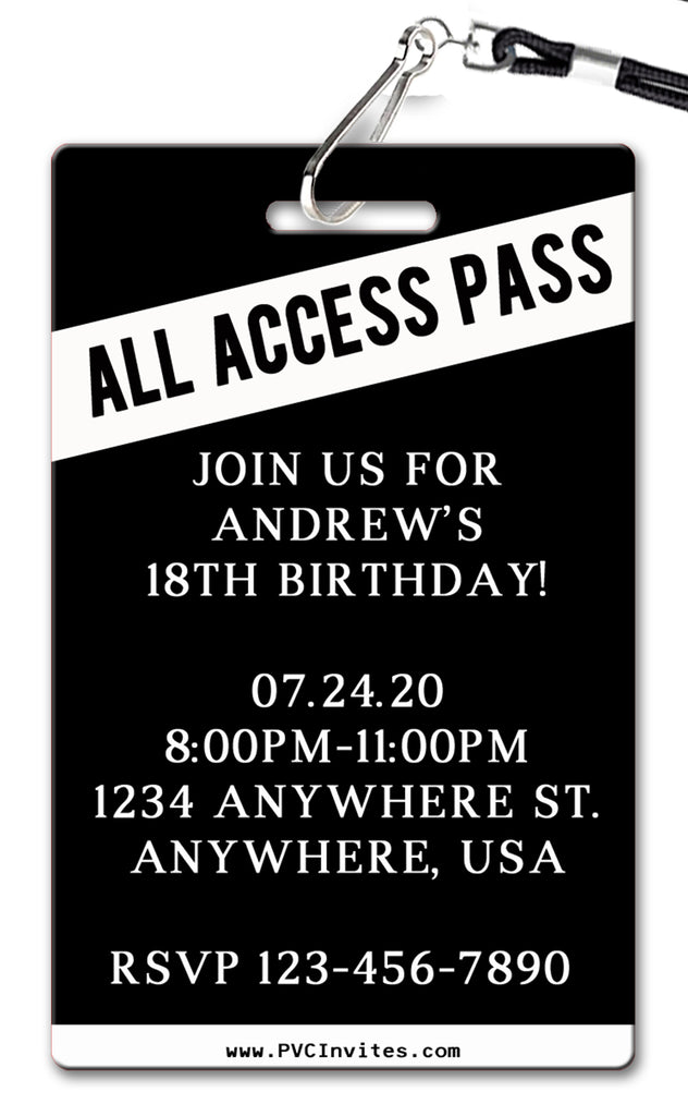 All Access Pass Birthday Invitation