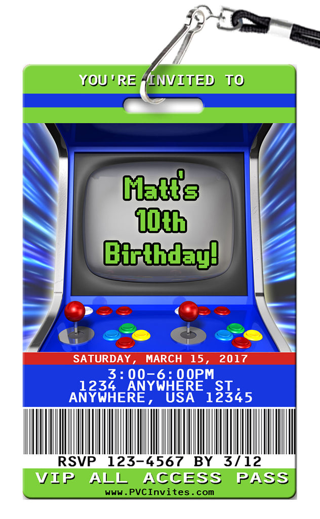 Arcade Birthday Invitations